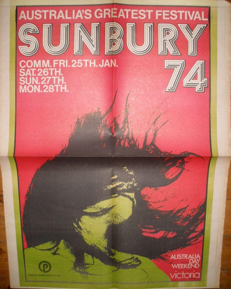 Carteal del festival de Sunbury 1974.