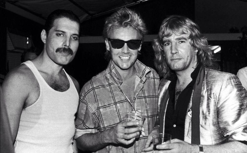 Freddie Mercury, Roger Taylor y Rick Parfitt. Queen.