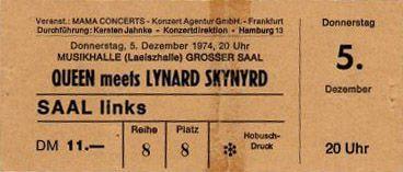 Ticket del show de Queen y Lynyrd Skynyrd.