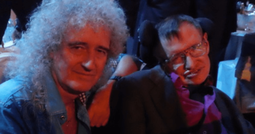 Brian May de Queen con Stephen Hawking en Tenerife.