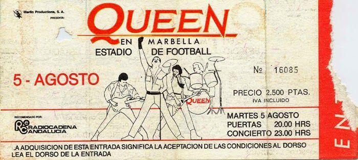 Entrada Queen en Marbella, 1986