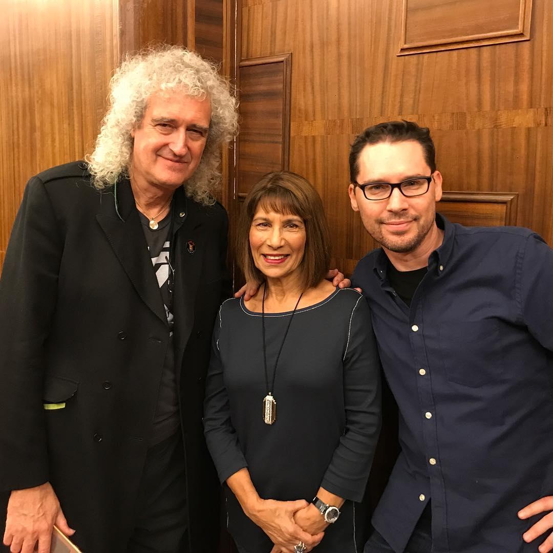 Kashmira, la hermana de Freddie Mercury, durante su visita al rodaje de Bohemian Rhapsody.