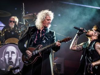 Queen and Adam Lambert perform at Ziggo Dome, Amsterdam, Netherlands, 13th November 2017. L-R drummer Roger Taylor, guitarist Brian May and singer Adam Lambert. (Photo by Paul Bergen/Redferns)