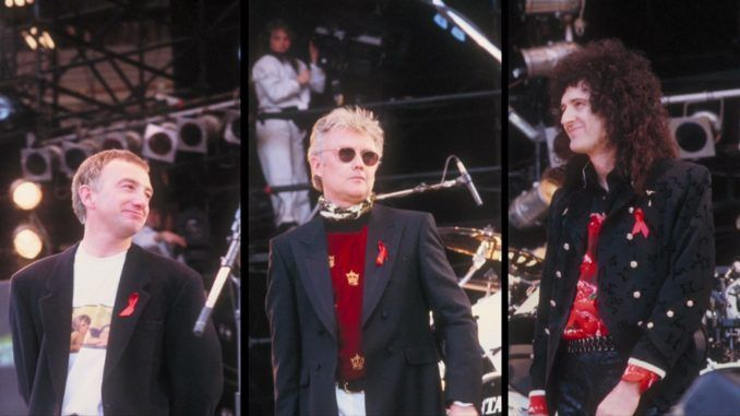 Freddie Mercury Tribute Concert 1991. John Deacon, Roger Taylor y Brian May. Queen.